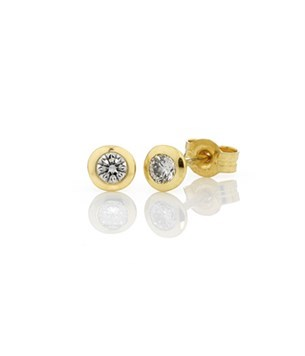 Diamond Bezel Set Studs 2=0.20ct - 18ct Yellow Gold
