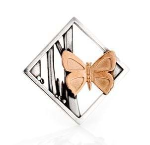 Eltham Copper Butterfly Landscape Brooch