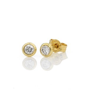 Diamond Bezel Set Studs 2=040ct - 18ct Yellow Gold