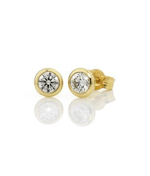 Diamond Bezel Set Studs 2=0.50ct - 18ct Yellow Gold