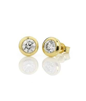 Diamond Bezel Set Studs 2=1.00ct - 18ct Yellow Gold