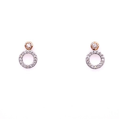 argyle pink diamond studs with circle drop white diamonds, rose gold and white gold earrings, Melbourne Australia
