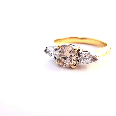 Champagne and white diamond yellow and white gold engagement ring, Melbourne Australia