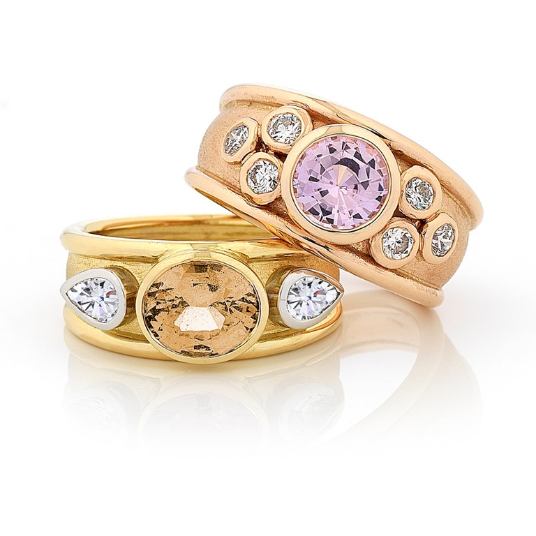 Azura Style Rings with Natural Pink and Peach Coloured Sapphires with Diamonds in Yellow Gold and Rose Gold Wide Rimmed Band