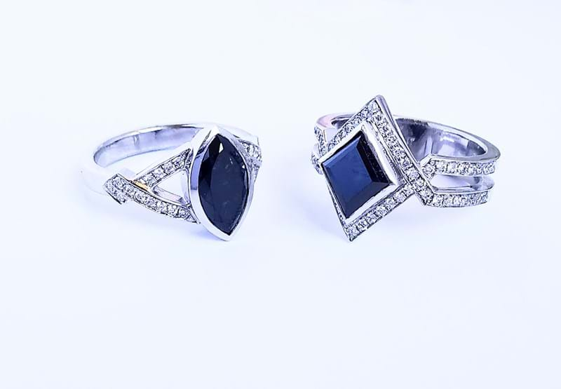Black Diamond Geometric Designer Rings, Melbourne Australia