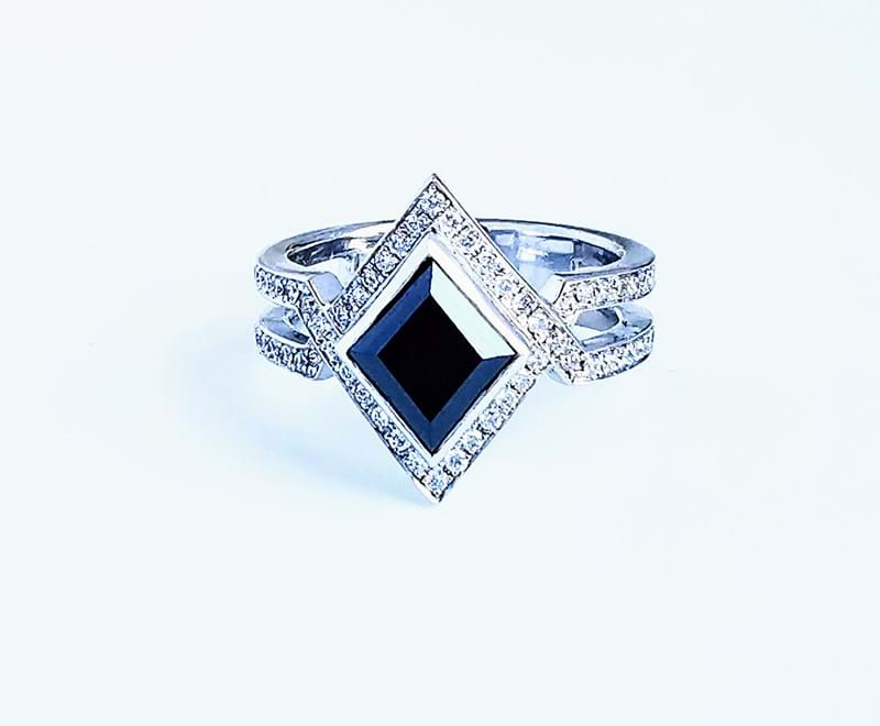 Black Diamond Geometric Halo Designer Ring, Melbourne Australia