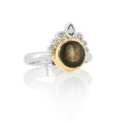 Round black star sapphire and diamond two tone gold and platinum, Melbourne Australia ring