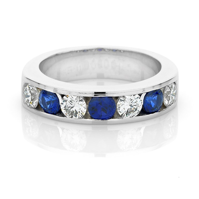 Natural Blue Sapphire and Diamond Channel Set Band, White Gold