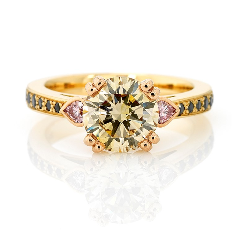 Natural Champagne Diamonds and Argyle Pink Heart Shape Diamonds with Black Diamond Pave Band, Yellow and Rose Gold