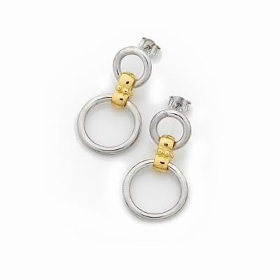Circlet Earrings - Sterling Silver 18ct Yellow Gold