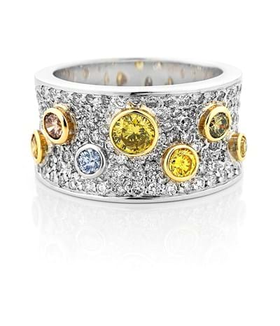 Rare and fancy coloured diamond pave ring