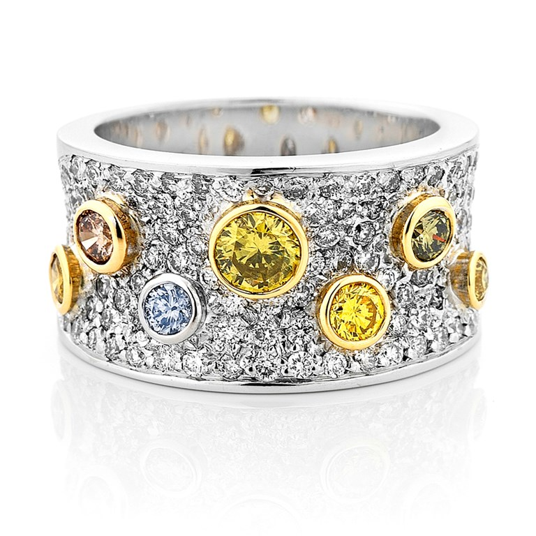 Wide Pave Diamond Ring with Rare Natural Coloured Diamonds