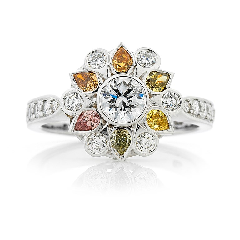 Natural Coloured Diamond Cluster Ring, Pink, Peach, Champagne, Green, Yellow and Orange Pear Shape Diamonds