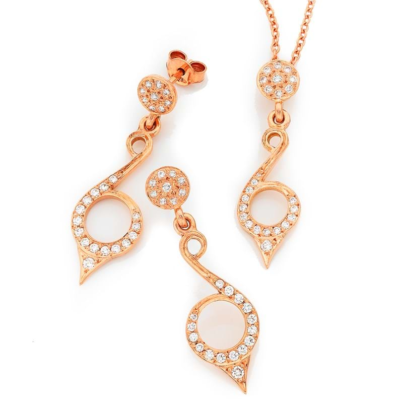 Pave diamond scroll earrings and pendant, Melbourne Australia