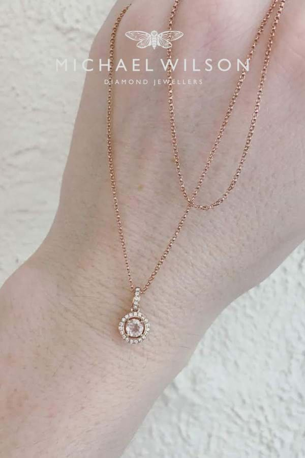 Morganite diamond halo rose gold pendant and rose gold chain