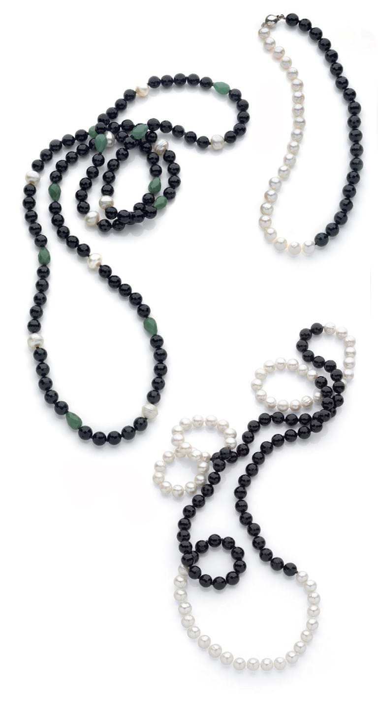 Modern Pearl Strands with Semi Precious Stones