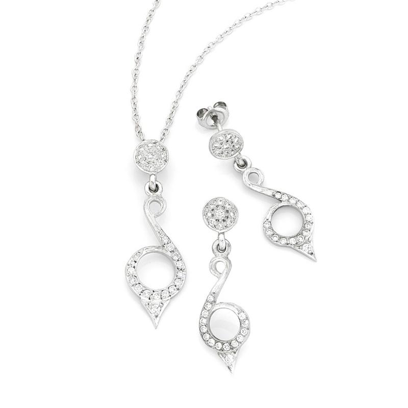 White gold pave diamond earrings and pendant