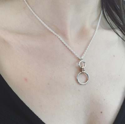 Double Circlet Pendant - Sterling Silver and 9ct Rose Gold