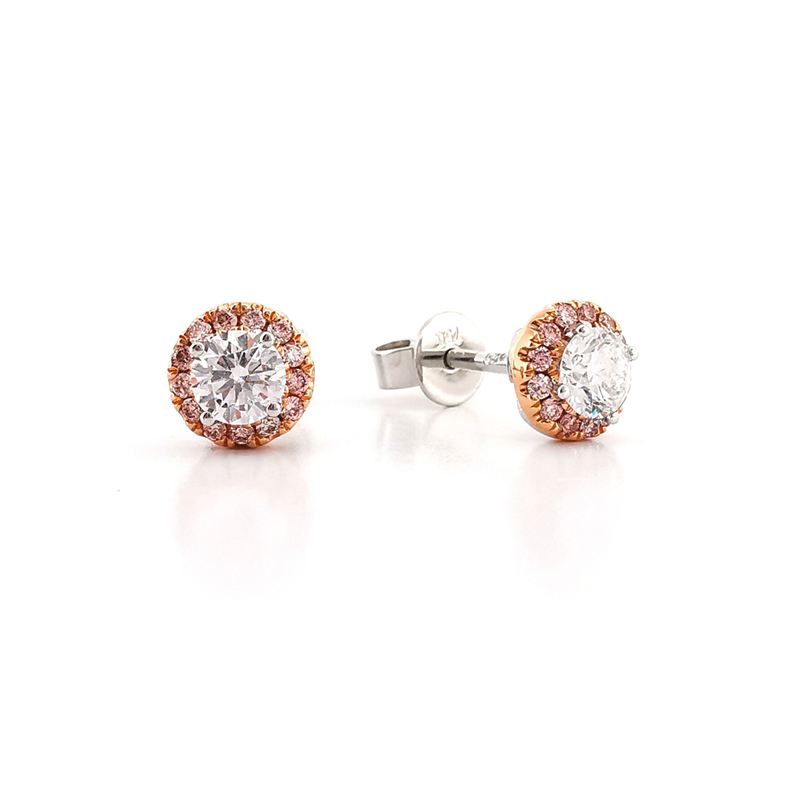 Argyle pink diamond halo stud earrings with diamond centre stone in white gold and rose gold, Melbourne Australia