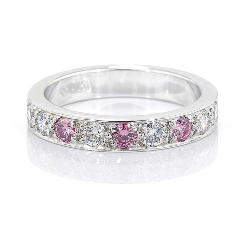 Argyle pink diamond grain set anniversary or wedding diamond band, Melbourne Australia