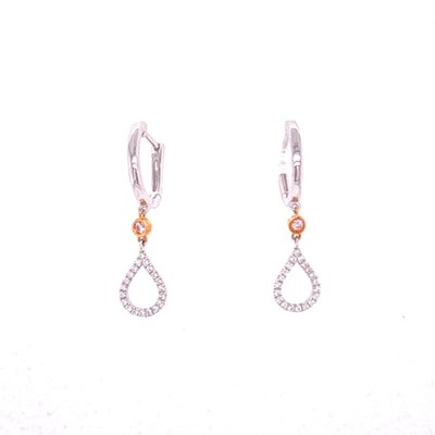 Argyle pink diamond huggie earrings with pear drop of brilliant grainset diamonds in rose gold and white gold, Melbourne Australia