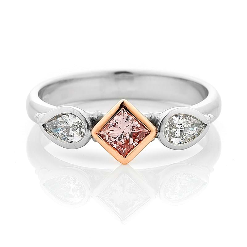 Argyle pink diamond princess cut ring, Melbourne Australia
