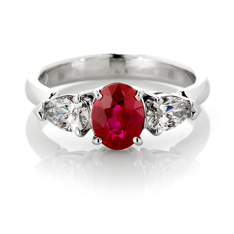 Natural Oval Ruby and Pear Shape Diamond Azena in White Gold