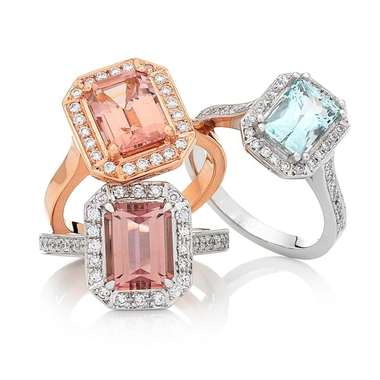 Morganite, Pink Tourmaline,  Aquamarine and Diamond Halo Art Deco Rings, Rose Gold and White Gold