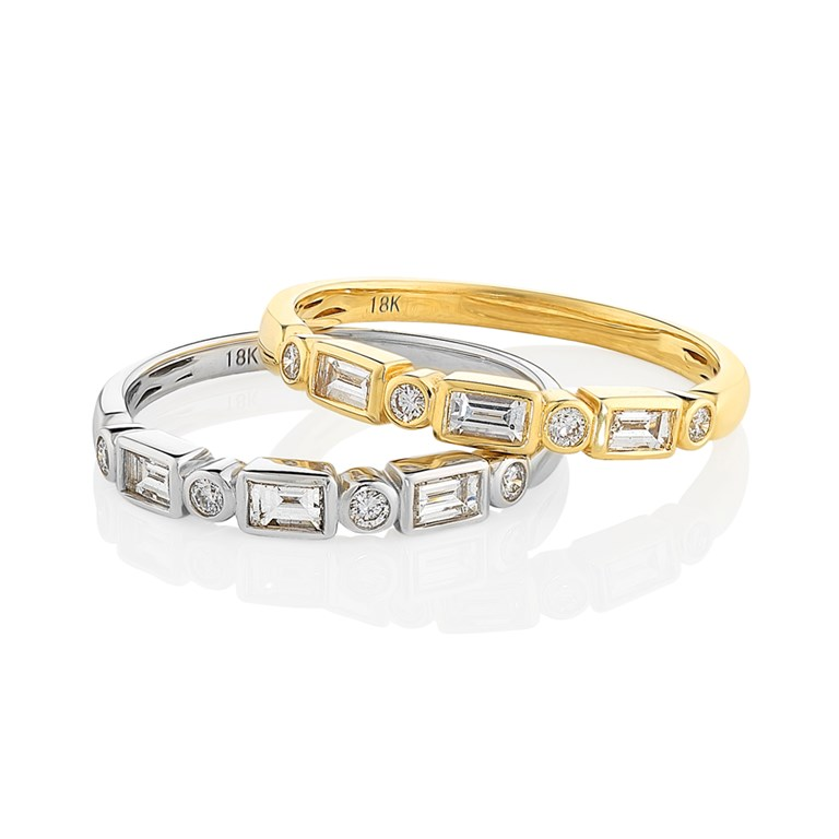 Baguette and Brilliant Diamond Bands
