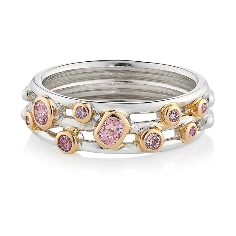 Argyle pink diamond wire band set in rose gold with white gold band, Melbourne Australia